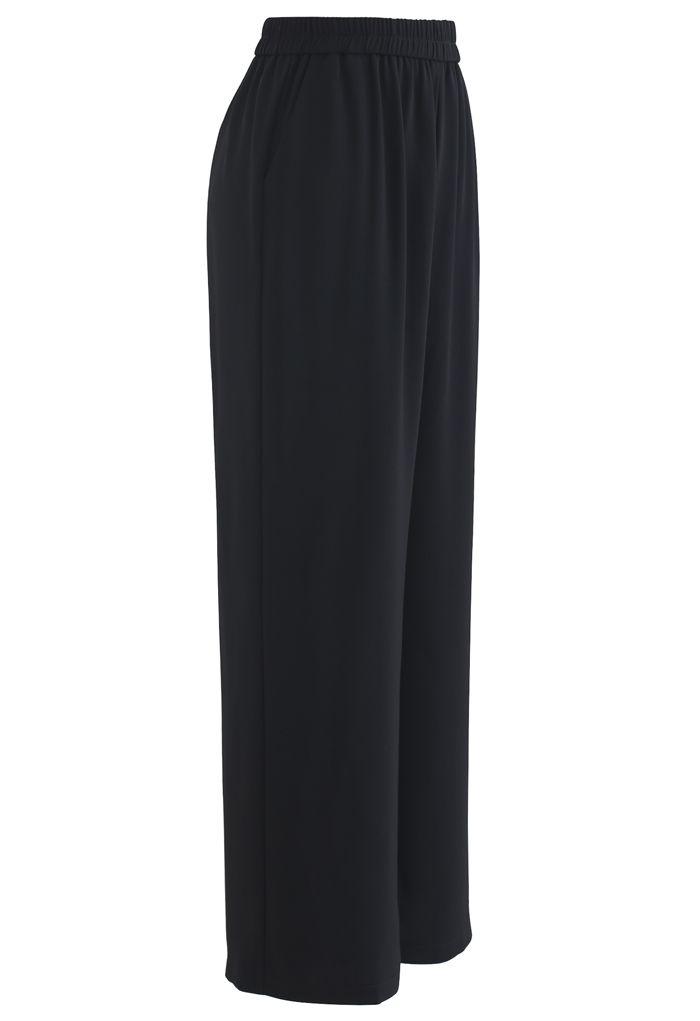 Pantalon droit taille élastique en noir