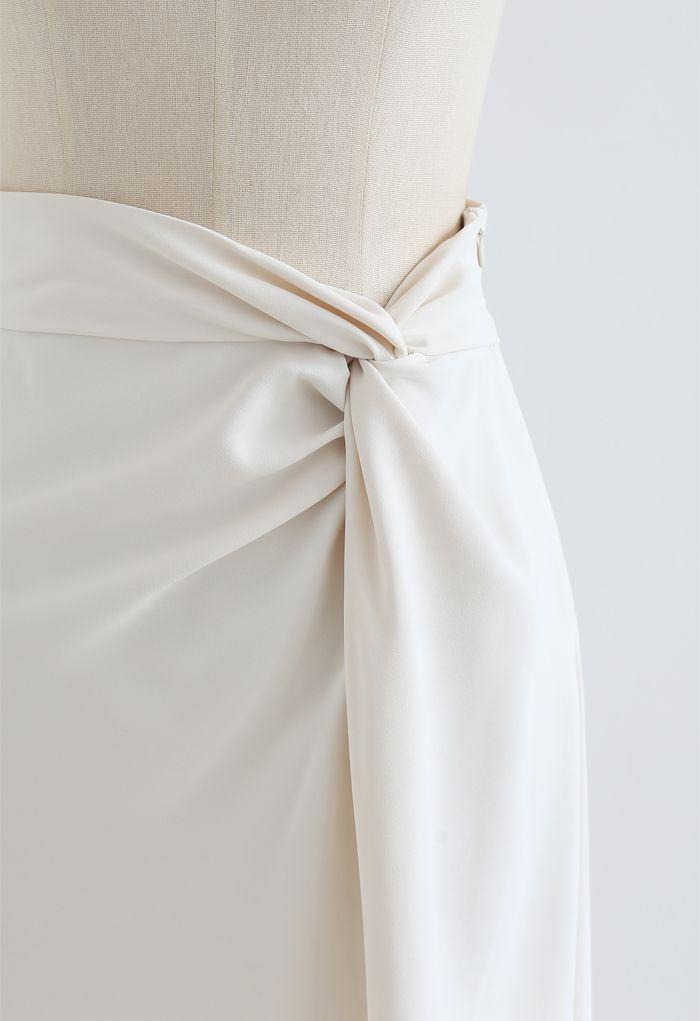 Jupe crayon nouée à la taille avec ourlet fendu en ivoire