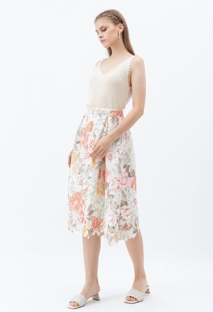 Jupe mi-longue en crochet imprimé Blooming Rose