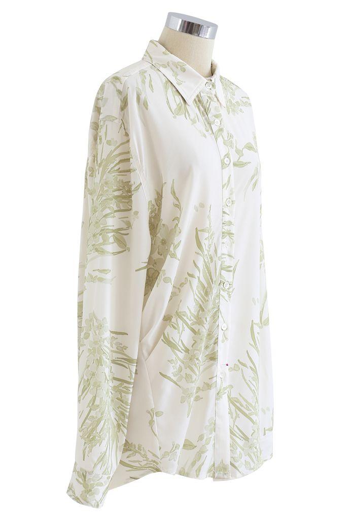 Chemise longue Dainty à imprimé floral en vert mousse