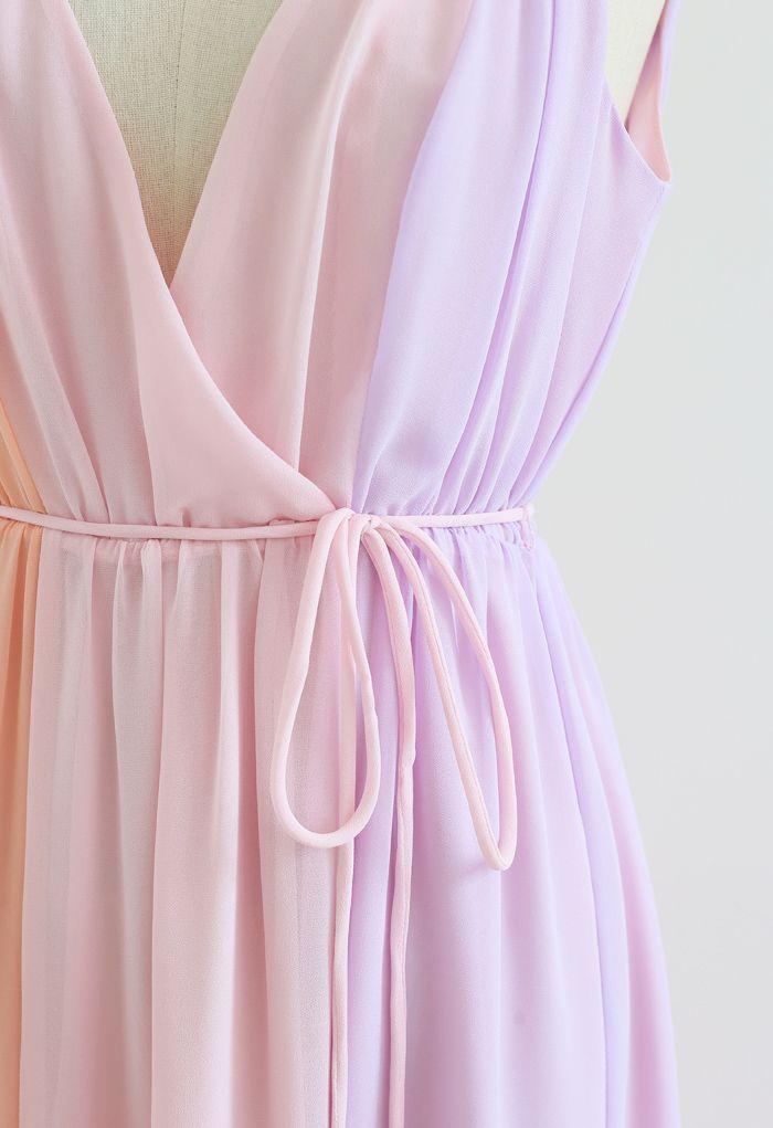Robe longue en mousseline de soie à col en V profond et bloc de couleurs pastel