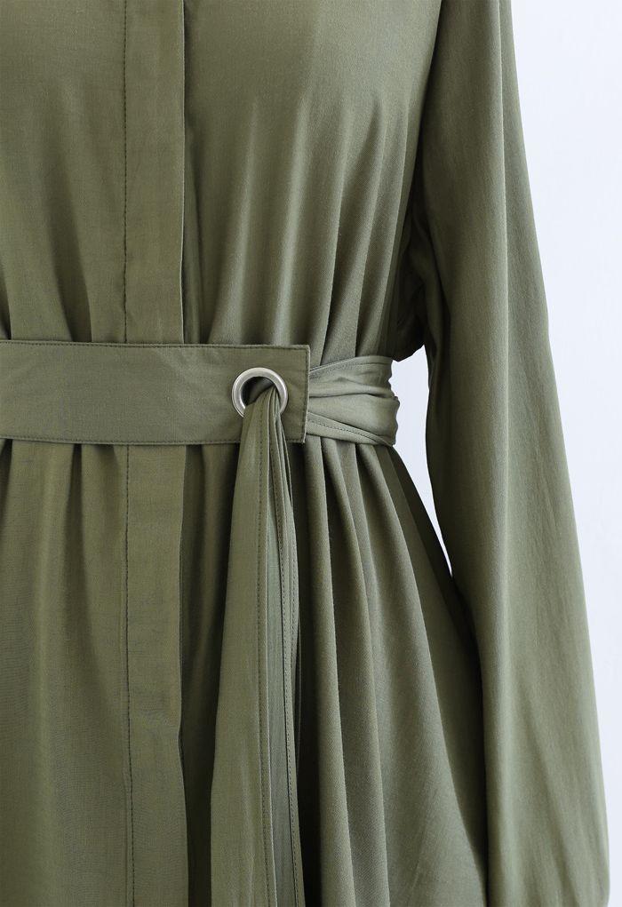Robe chemise boutonnée à ceinture raffinée en vert armée