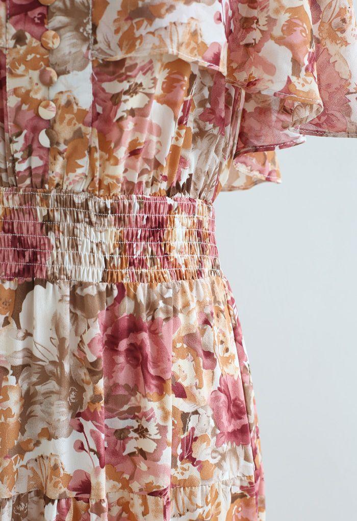 Robe maxi fleurie à rabat sans manches et épaules