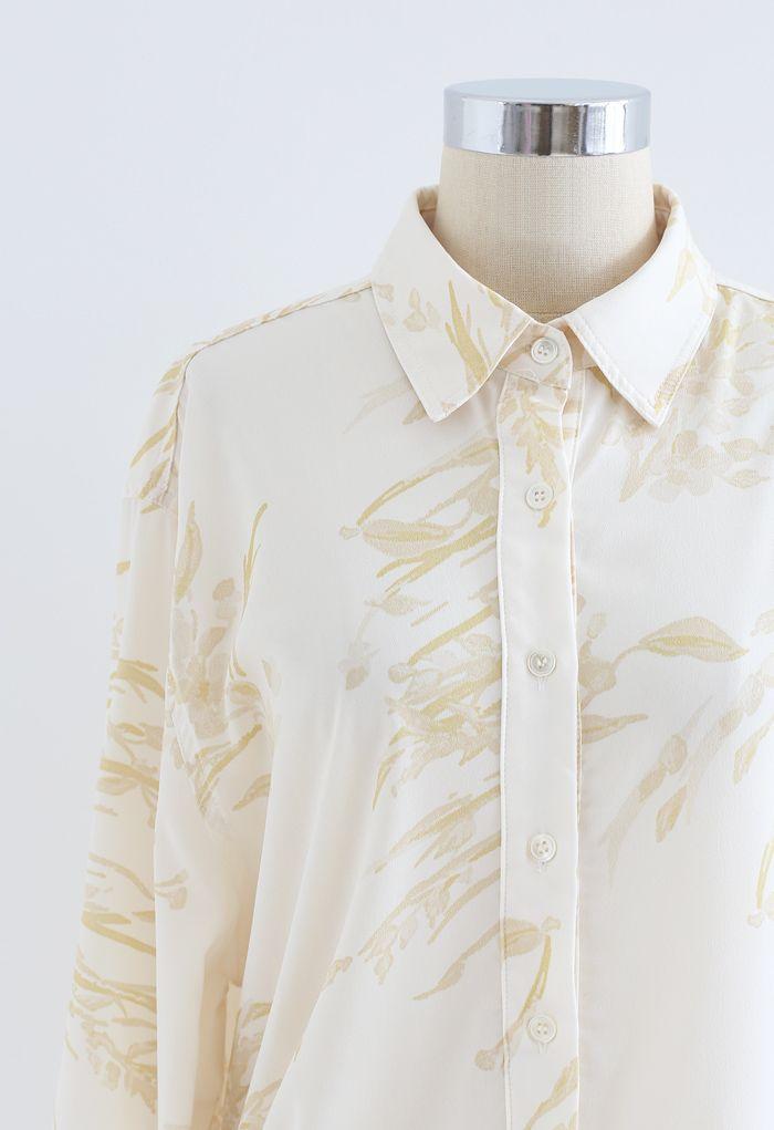Chemise longue Dainty à imprimé floral en jaune