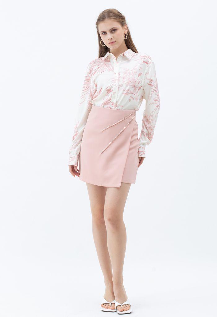 Chemise longue Dainty à imprimé floral en rose