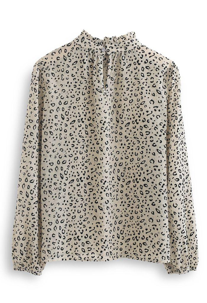 Chemise en organza léopard à col montant