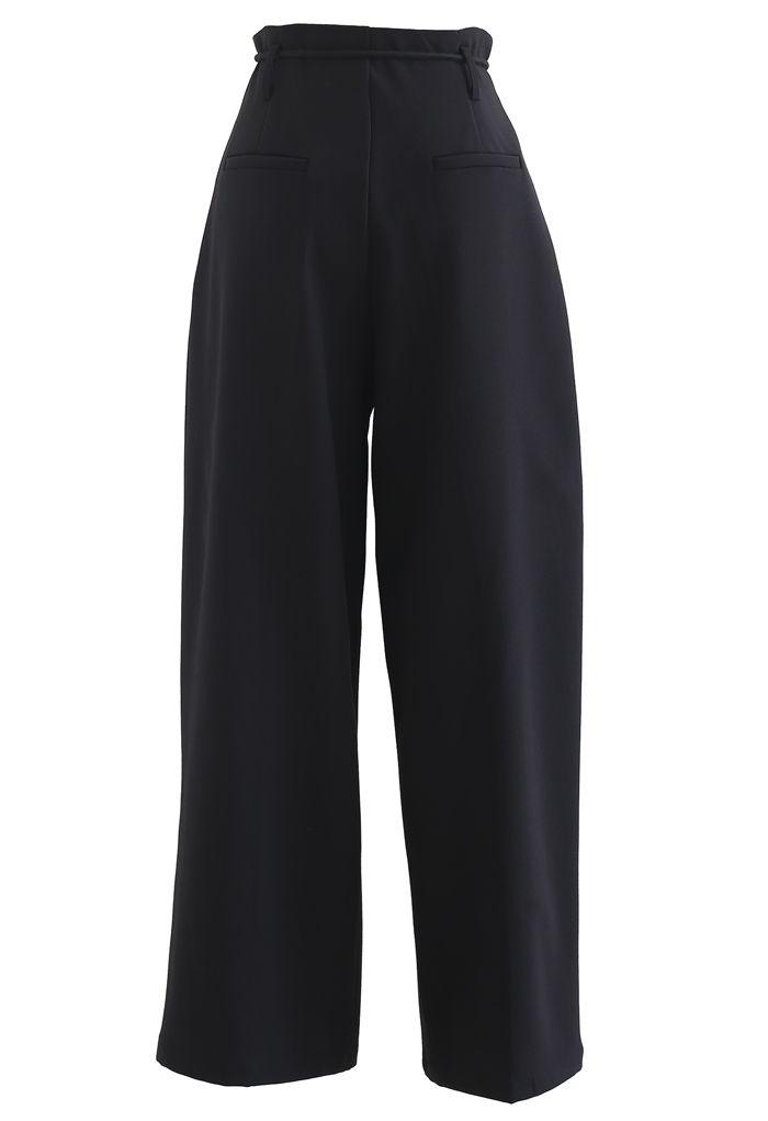 Pantalon plissé à jambe droite à taille nouée en noir