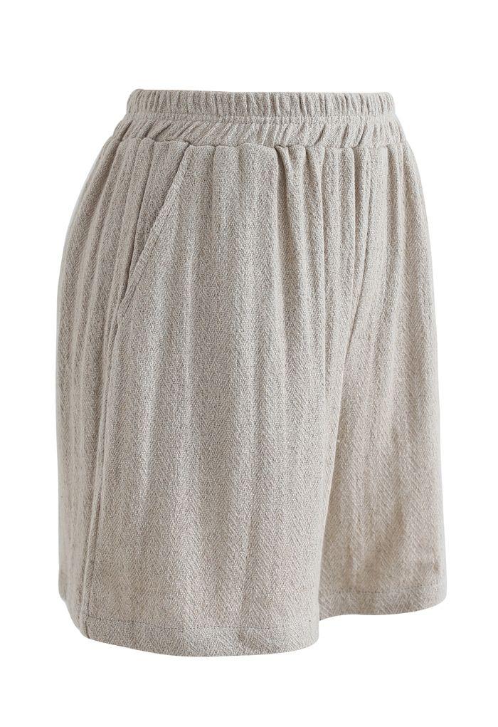 Short en lin de coton avec poches élastiques à la taille en sable
