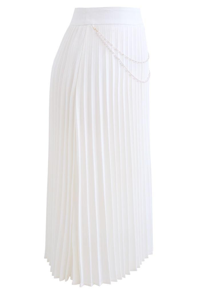 Jupe mi-longue plissée à chaîne drapée en blanc
