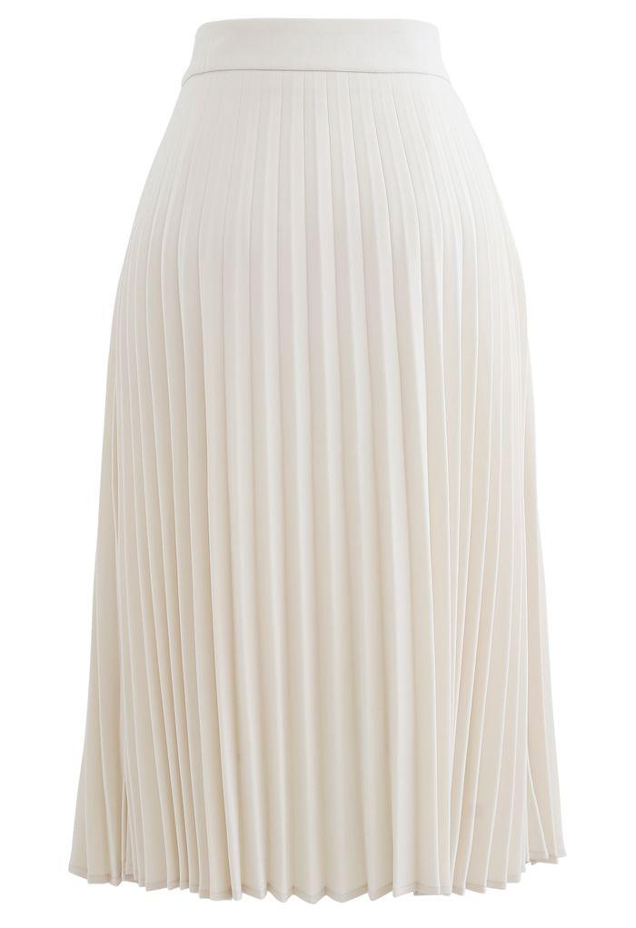 Jupe mi-longue plissée à chaîne drapée en crème