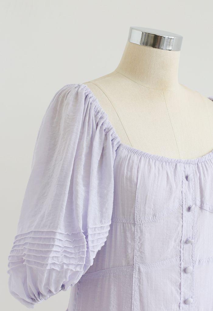 Robe fluide à volants boutonnée à manches bouffantes en lilas