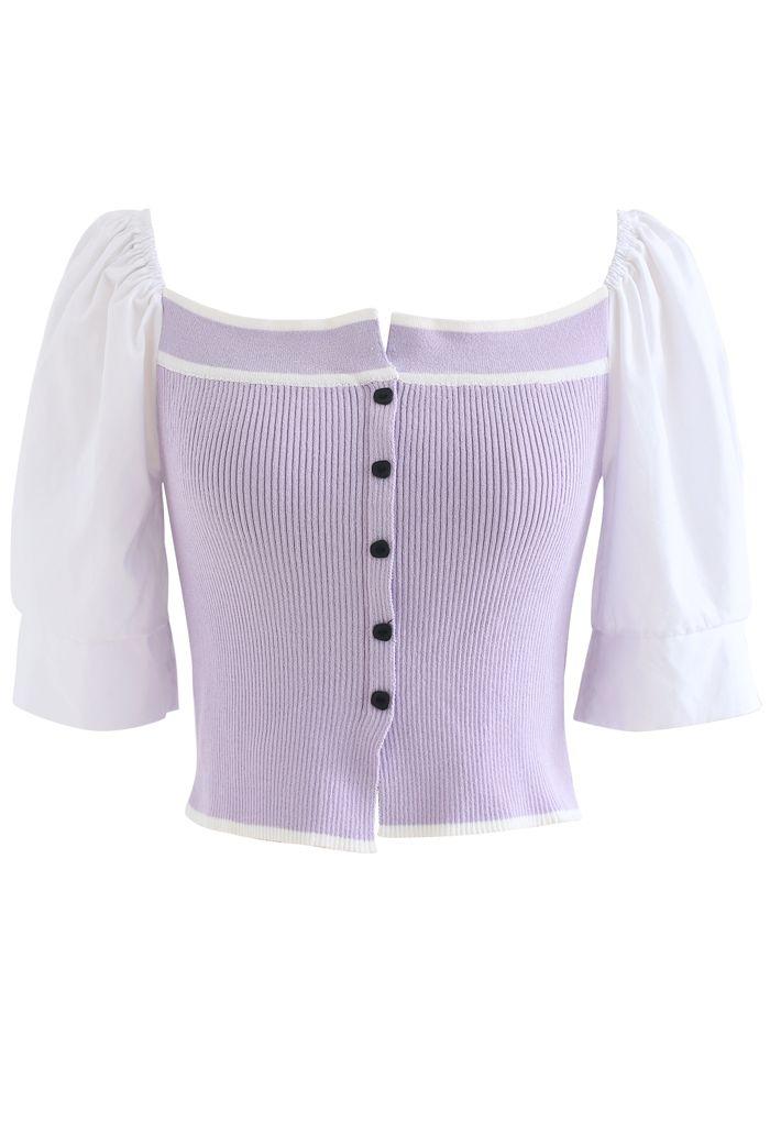 Haut court boutonné en maille bouffante à manches courtes en lilas