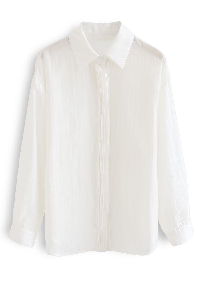 Chemise ample ornée de nervures en ivoire