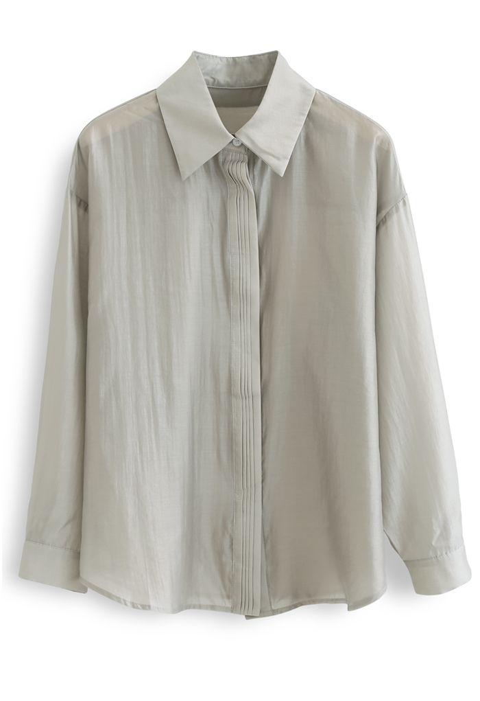Chemise ample ornée de nervures en sauge