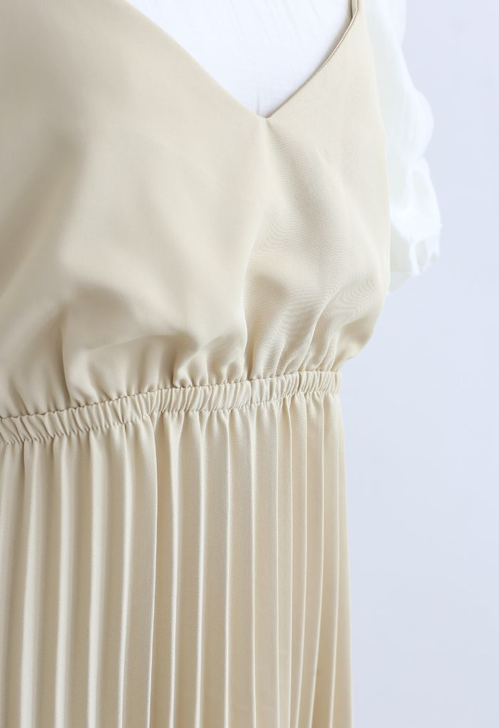 Robe mi-longue plissée deux pièces en jaune
