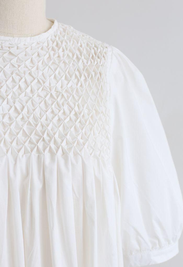 Robe Dolly Diamond Honeycomb en Blanc