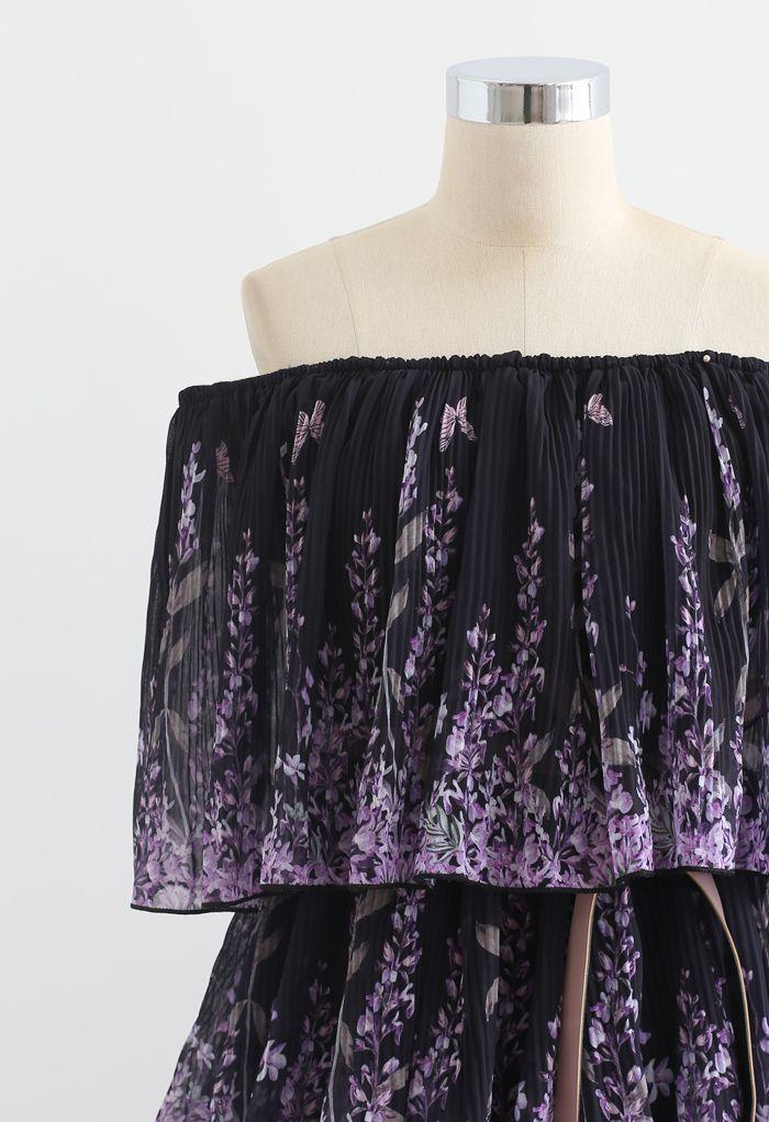 Robe à épaules dénudées plissée imprimée lavande en noir