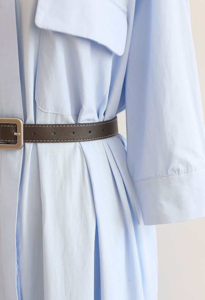 Robe chemise boutonnée en coton ceinturée en bleu ciel