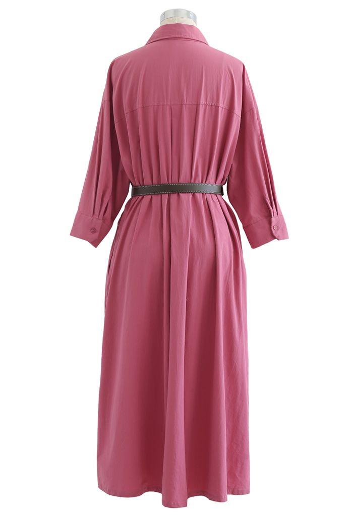 Robe chemise boutonnée en coton avec ceinture en rose