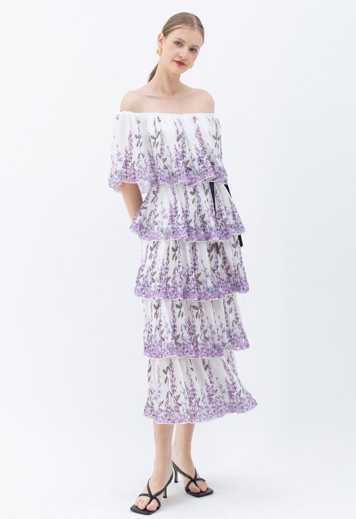 Robe à volants à épaules dénudées plissée imprimée lavande en blanc
