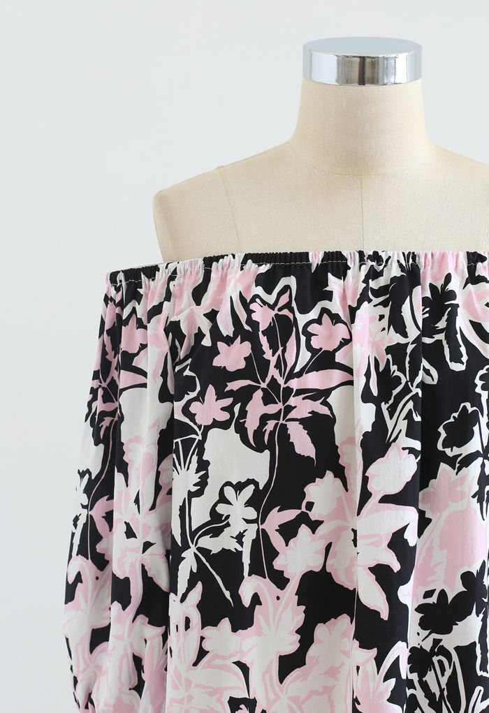 Top d'été à épaules dénudées et imprimé floral en noir