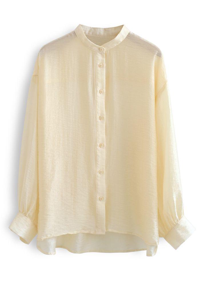 Chemise boutonnée légère sans col en abricot