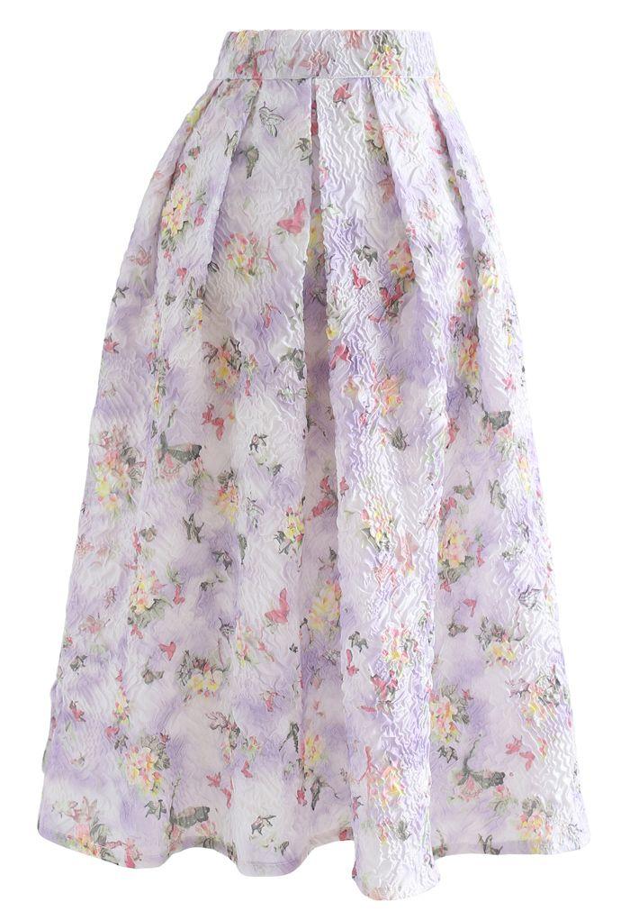 Jupe mi-longue plissée en relief Lavender Garden