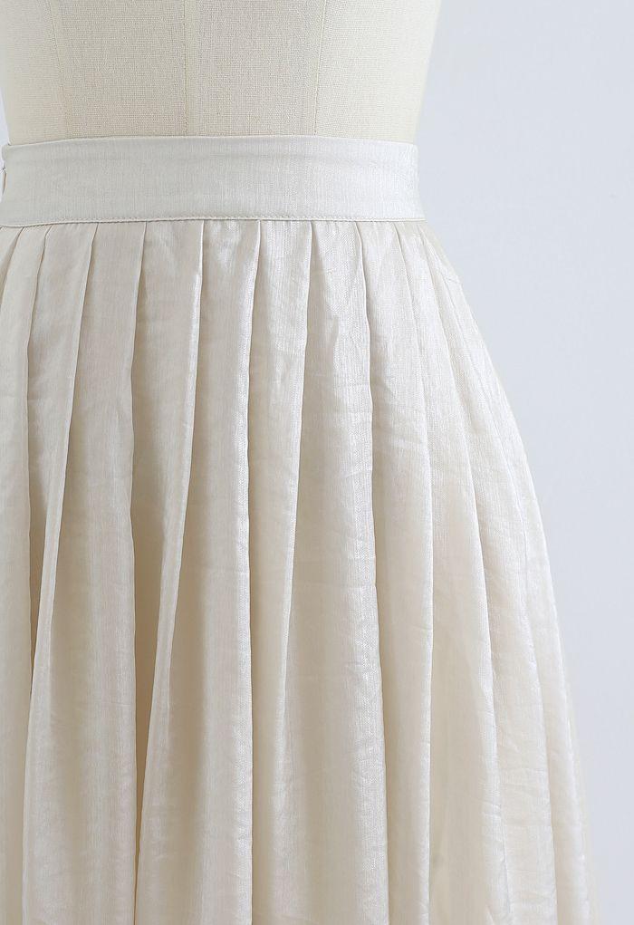Jupe mi-longue plissée Shimmer Breeze en crème