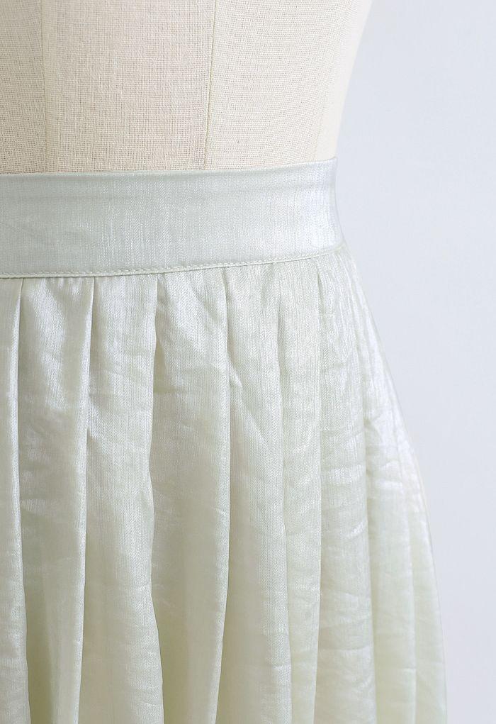 Jupe mi-longue plissée Shimmer Breeze en vert pois