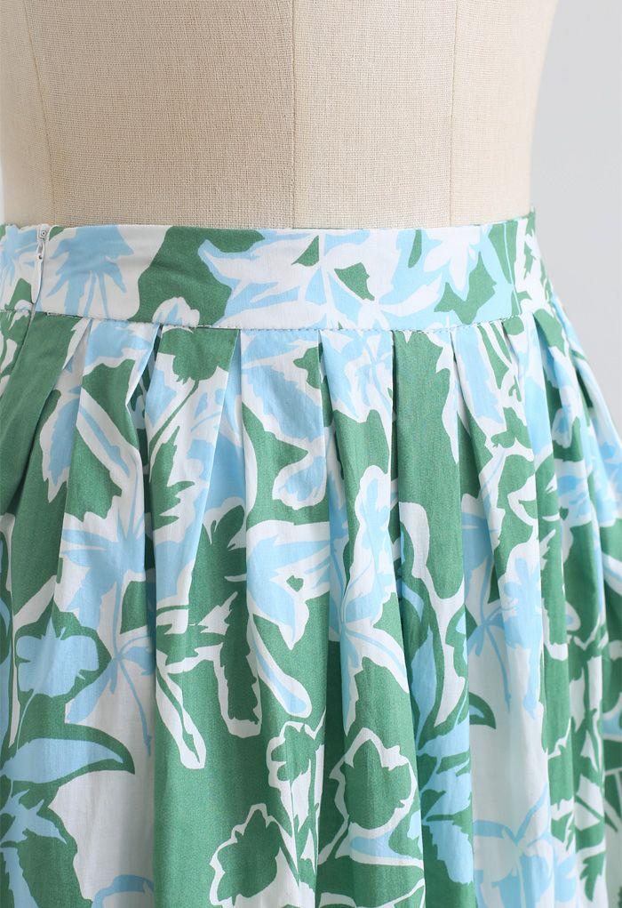 Jupe mi-longue plissée à imprimé floral d'été en vert