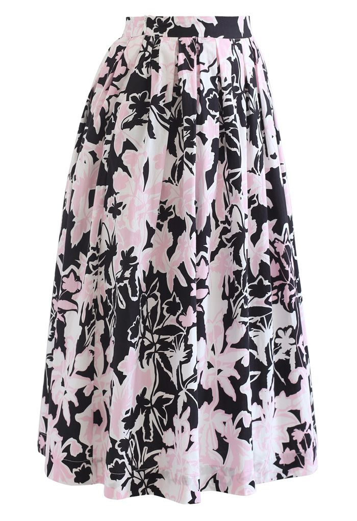 Jupe mi-longue plissée à imprimé floral d'été en noir