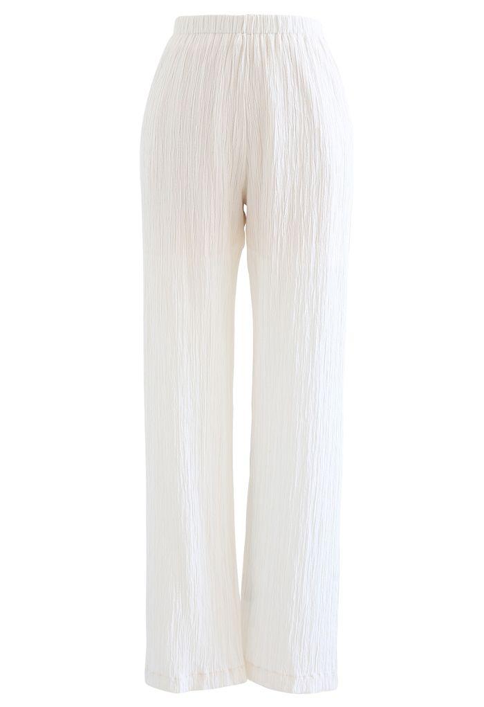 Pantalon à enfiler plissé taille haute en blanc