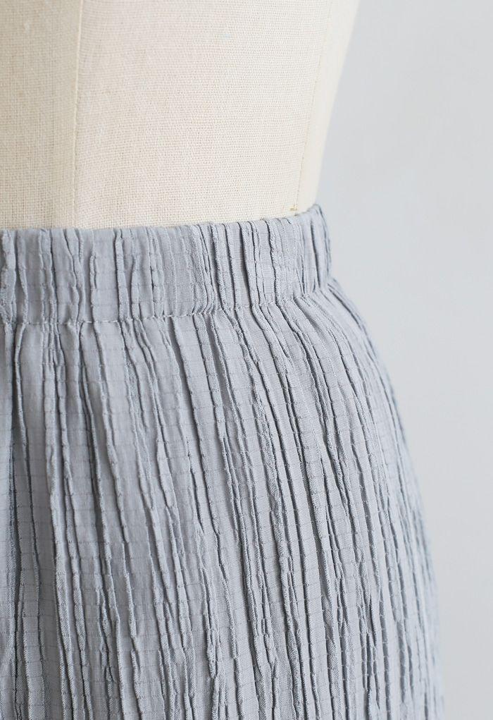 Pantalon à enfiler plissé taille haute en bleu poussiéreux