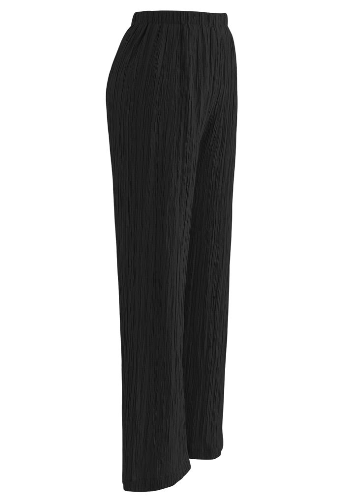 Pantalon à enfiler plissé taille haute en noir