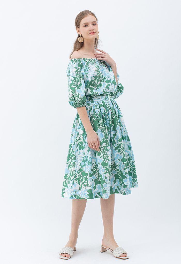 Top d'été à épaules dénudées et imprimé floral en vert