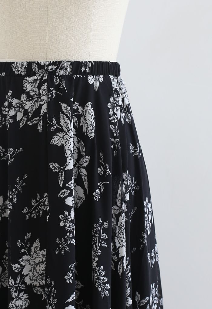 Jupe longue en mousseline de soie Sketch Peony en noir