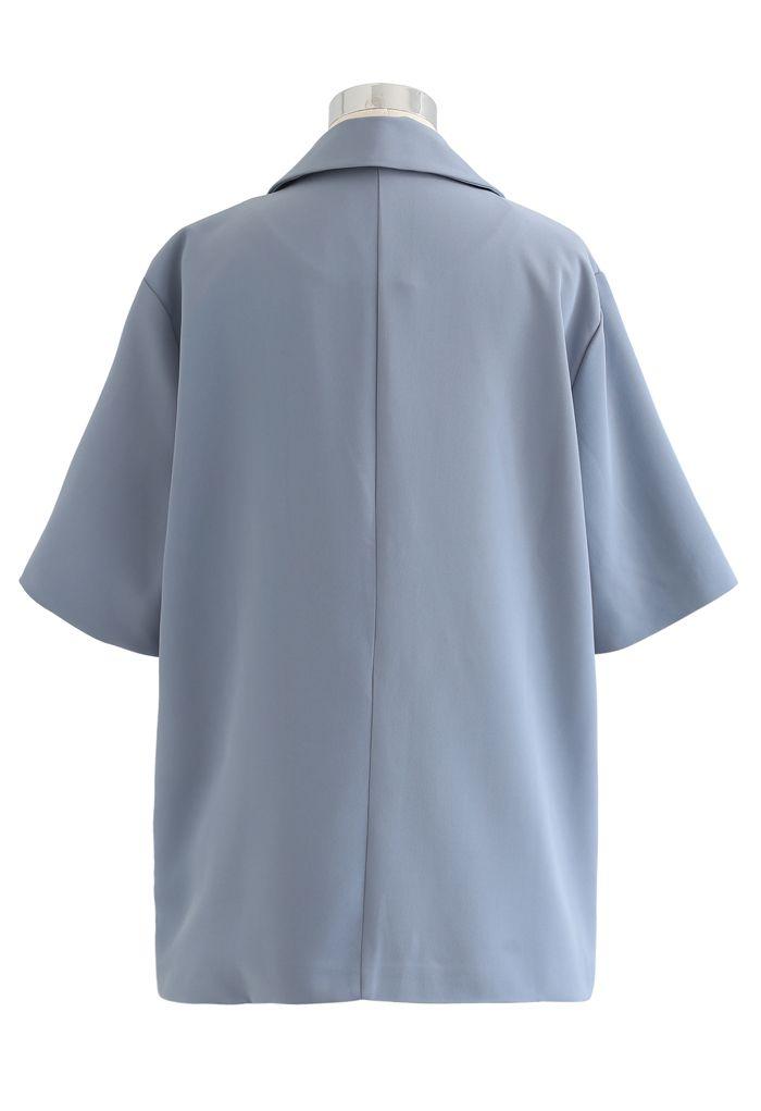 Blazer croisé à manches courtes en bleu poussiéreux