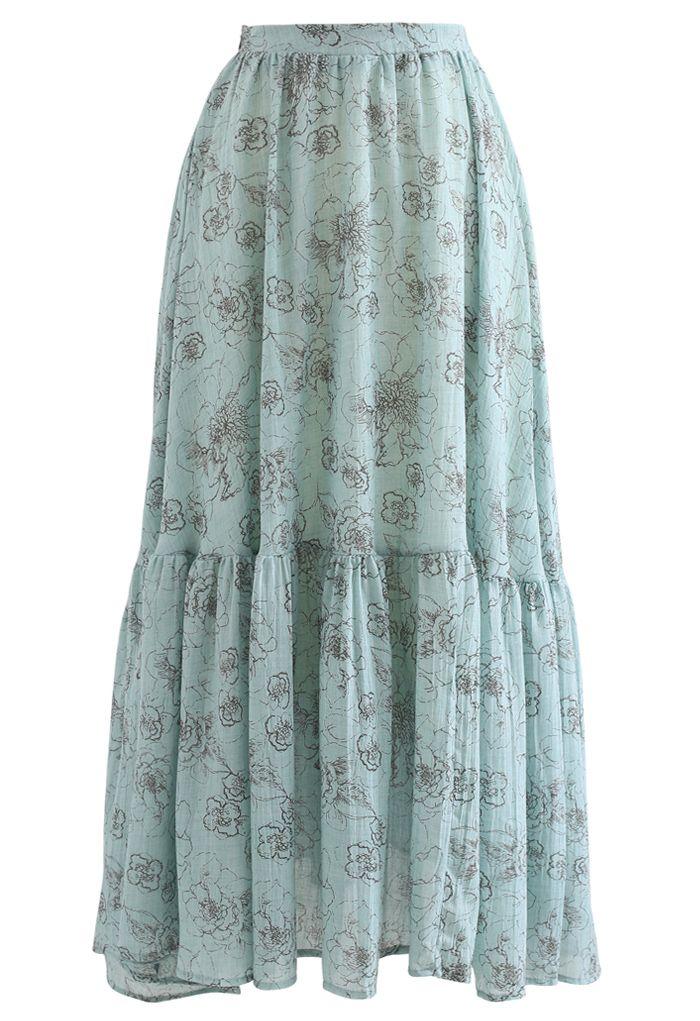 Jupe longue à ourlet volanté fleuri esthétique en bleu sarcelle
