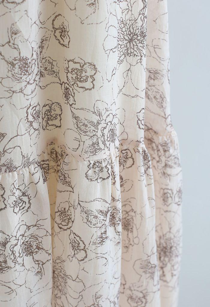 Jupe longue à ourlet volanté à fleurs esthétiques en beige clair
