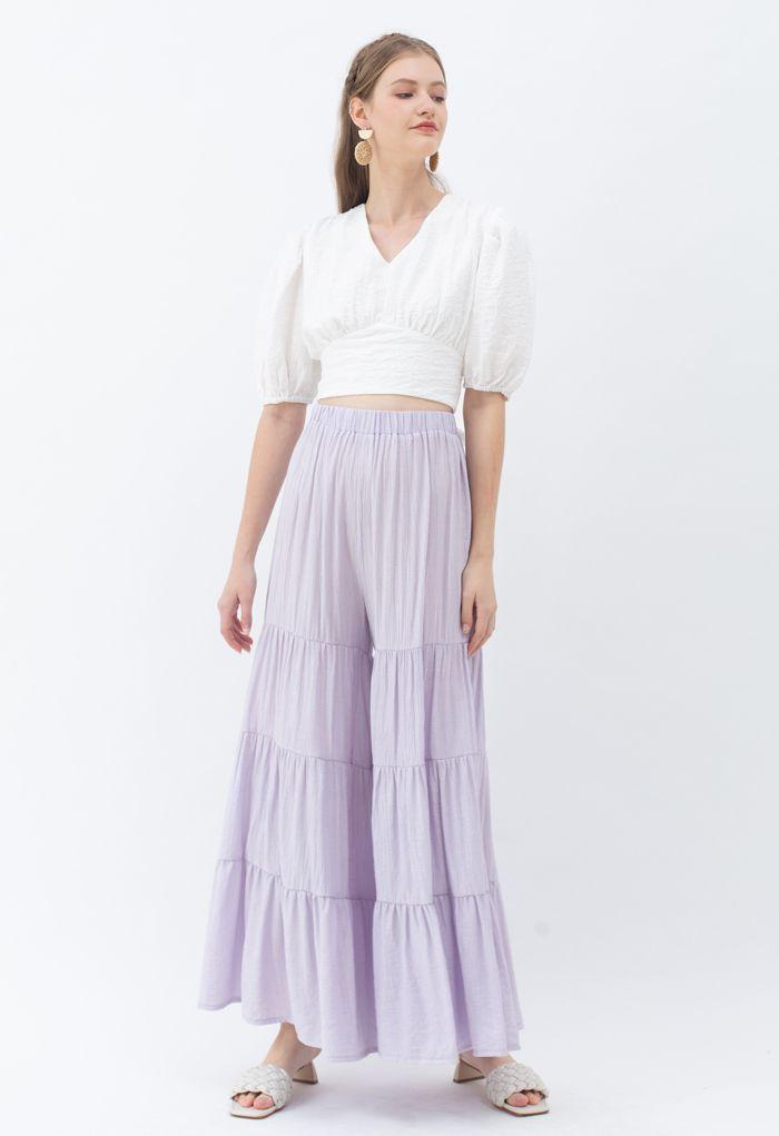 Pantalon large Sunny Days en lilas