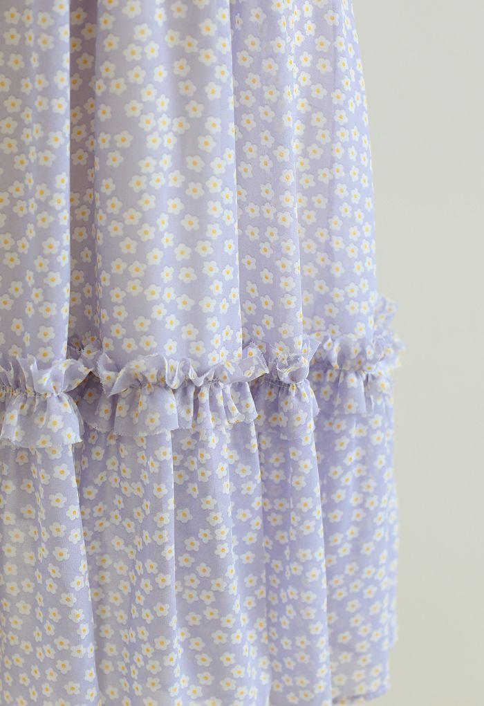 Robe en mousseline à volants et imprimé marguerite en lilas