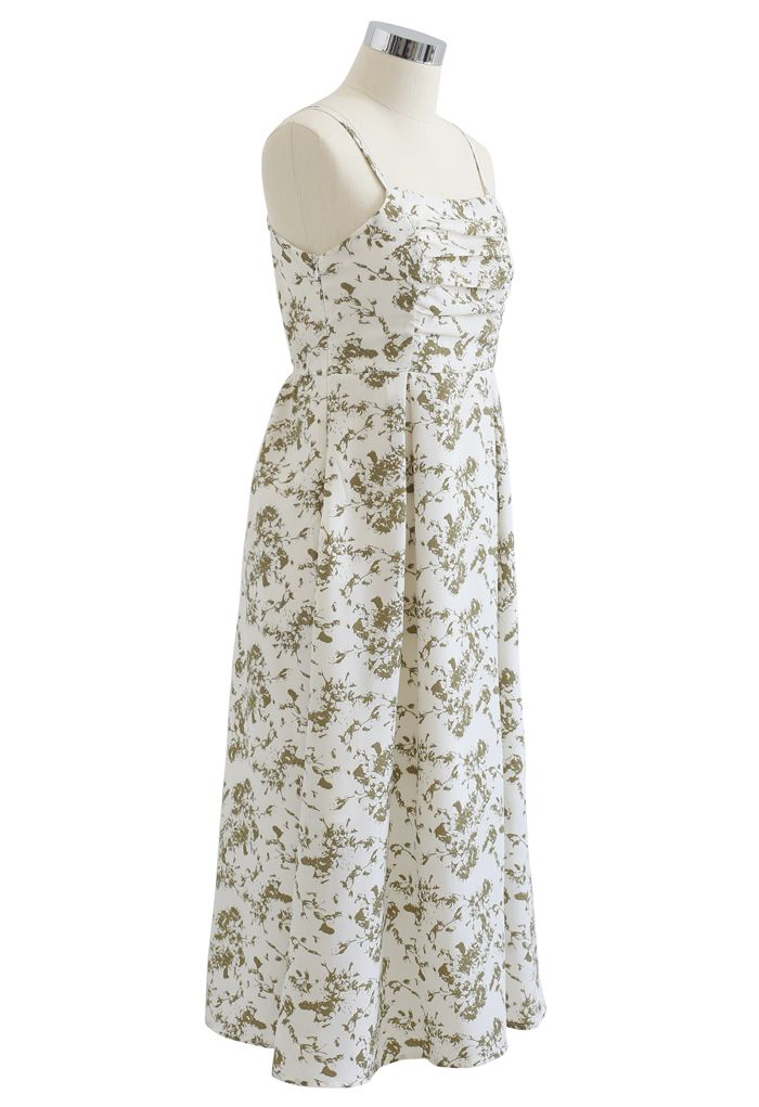 Ruched Bust Pleated Print Cami Dress in Ivory