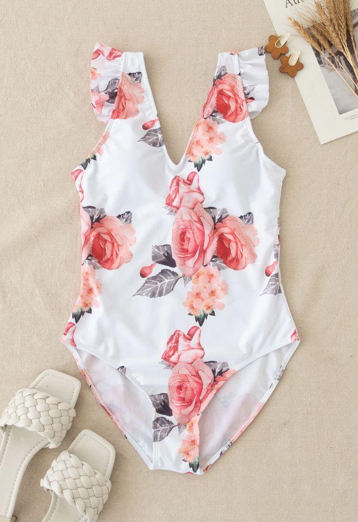 Rose Print Ruffle Detail Swimsuit for Mommy & Kids