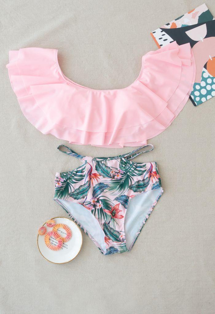 Tiered Shoulder Tropical Print Bikini Set for Mommy & Kids