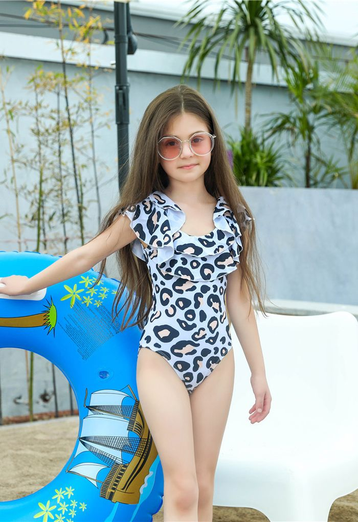 Leopard Print Tiered Ruffle Swimsuit for Mommy & Kids