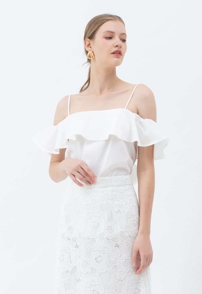 Bowknot Back Cold-Shoulder Flap Cami Top in White