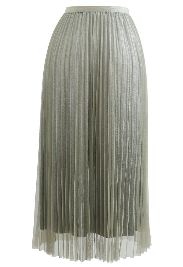 Gradient Shimmer Lining Pleated Mesh Skirt in Green