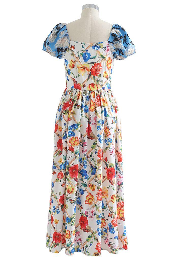 Vibrant Floral Print Jacquard Sleeve Maxi Dress