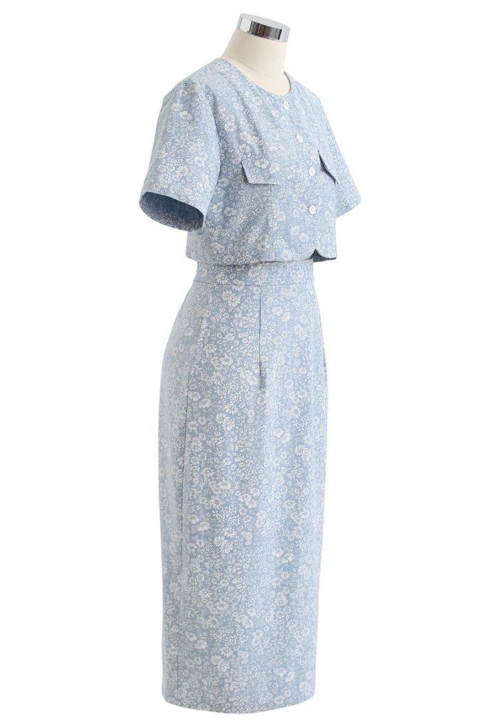 Floral Printed Washed Denim Crop Top and Skirt Set
