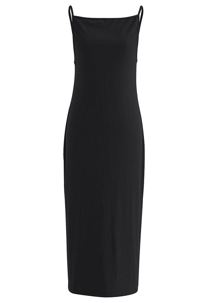Cami Strap Bodycon Ribbed Knit Dress in Black